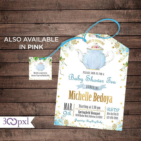 Tea Party Baby Shower Invitation, A Baby is Brewing Tea Bag Invites