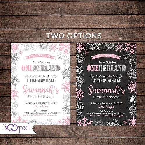 Winter Onederland Invitation, Girl Winter Onederland, Snowflake First Birthday