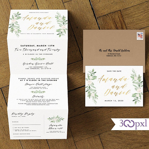 Trifold Greenery Wedding Invitation