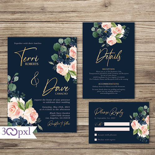 Navy and Blush Wedding Invitation, Floral Navy and Blush Pink