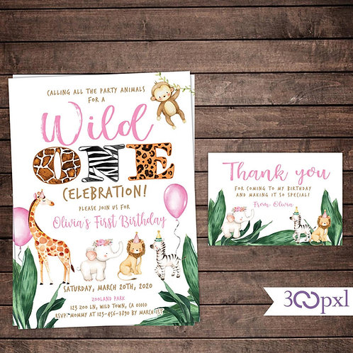 Wild One Birthday Invitation Girl, Safari Birthday Invitation, Woodland Animals