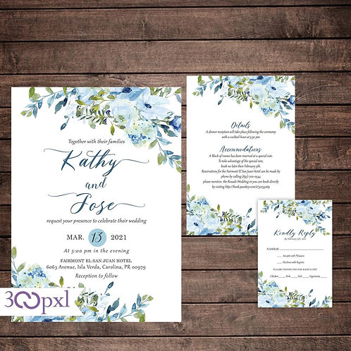 Navy Dusty Blue and Gold Floral Garden Wedding Invitation