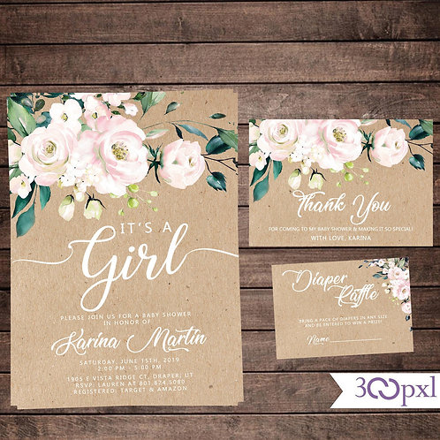 Rustic Blush Floral Baby Shower Invitation Girl