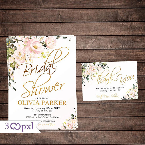 Blush Floral Bridal Shower Invitation, Blush Roses
