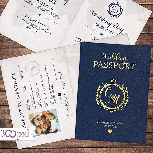 Destination Wedding Invitation, Passport Invite, Vintage
