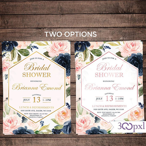 Floral Bridal Shower Invitation, Dusty Rose, Blush and Bavy