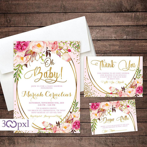 Girl Baby Shower Invitation, Pink and Gold Floral Baby Shower Invitation