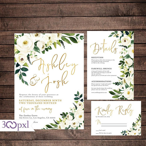 Greenery Wedding Invitation, White Roses