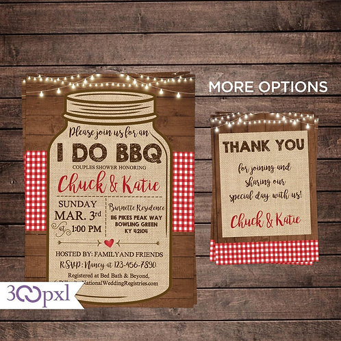 I DO BBQ Invitation Mason Engagement Party, I DO BBQ Couples Shower