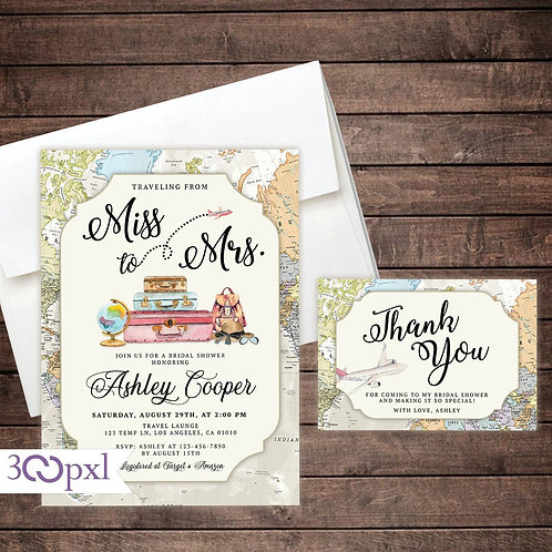 Miss to Mrs Bridal Shower Invitation, Traveling From Miss to Mrs