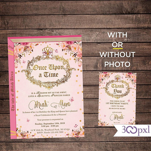 Storybook Birthday Invitation, Once Upon a Time Invitation, Fairy Tale
