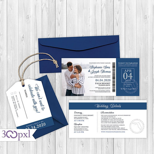 Boarding Pass Wedding invitation Airplane Ticket With Luggage Tag