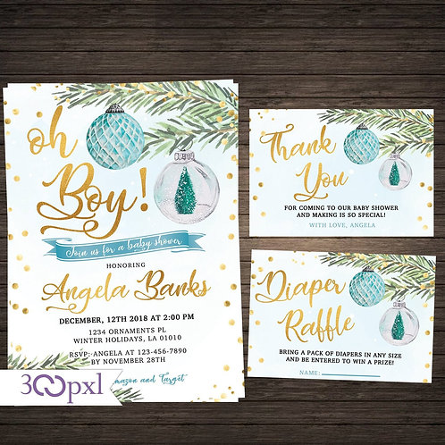 Oh Boy Ornaments Winter Holiday Christmas Baby Shower Invitation For Boy