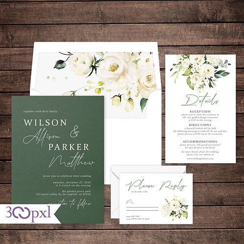 White Roses Floral Watercolor Modern Wedding Invitation