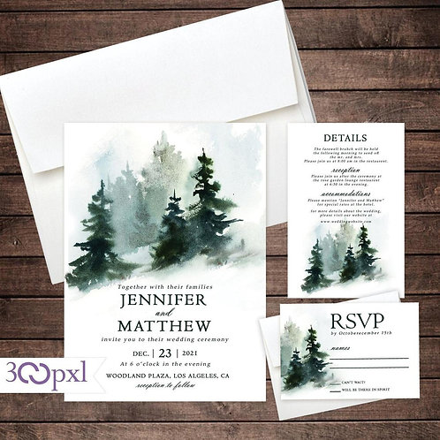 Rustic Winter Forest Wedding Invitations, Pine Trees