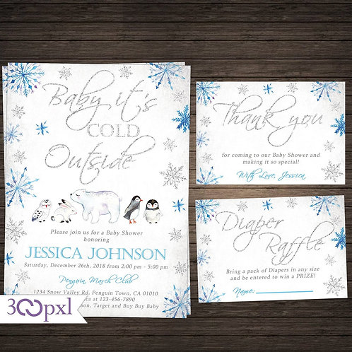 Baby It's Cold Outside Winter Woodland Baby Shower Invitation For Boy