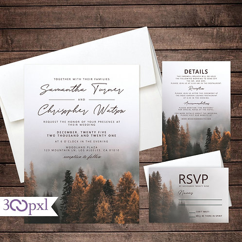 Rustic Fall Forest Wedding Invitations, Mountains