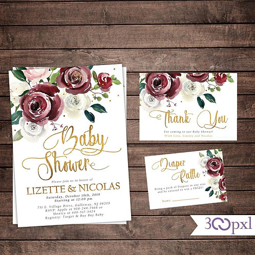 Fall Baby Shower Invitation, Girl Baby Shower Invitation, Burgundy Floral