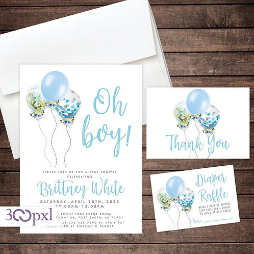 Balloon Baby Shower Invitation Boy, Watercolor, Floral Blue Balloon Invite