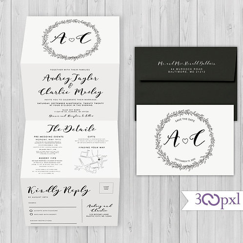 Modern Simple Concertina Trifold Wedding Invitation