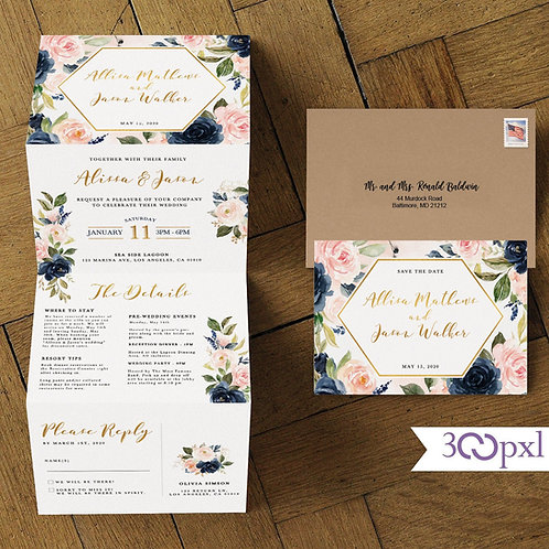 Concertina Floral Blush and Navy Wedding Invite