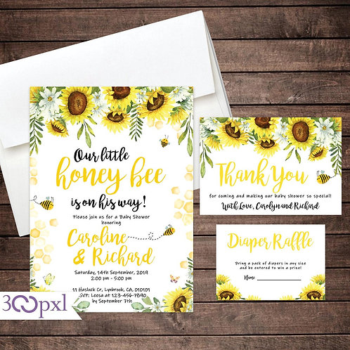 Bee Baby Shower Invitation, Sunflower Baby Shower Invitation, Honey Bee