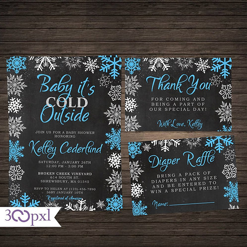 Baby It's Cold Outside Winter Snowflakes Baby Shower Invitation For Boy