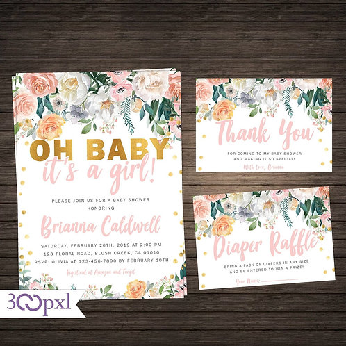 Blush Pink and Gold Floral It's a Girl Baby Shower Invitation Girl