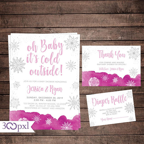 Baby It's Cold Outside Winter Snowflakes Baby Shower Invitation For Girl