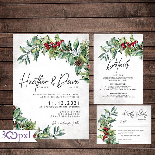 Winter Wedding Invitations, Christmas Wedding, Pine Cones