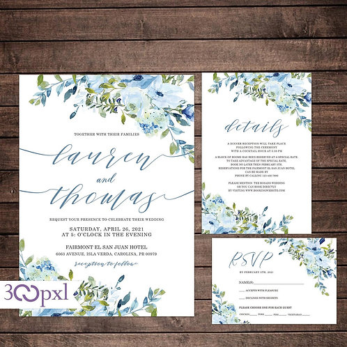 Dusty Blue Wedding Invitation, Navy and Light Blue Floral