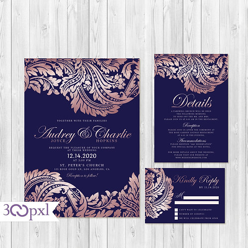 Elegant Navy and Rose Gold Wedding Invitation, Damask Print
