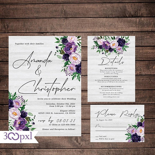 Purple Floral Wedding Invitation Set, Rustic Country Wedding Invites