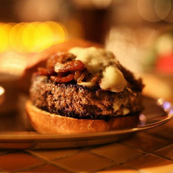 Delicious bacon and blue burger here at
