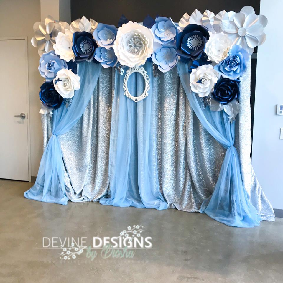 Blue and silver backdrop