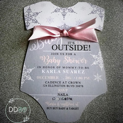 Baby onesie invitation