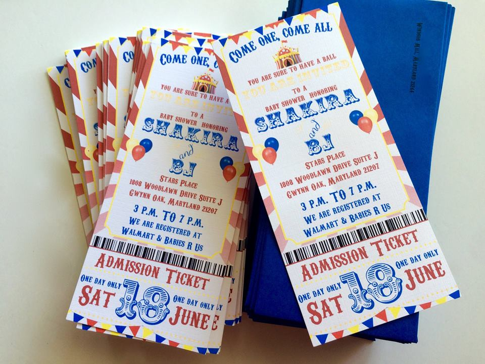 Circus style invitations