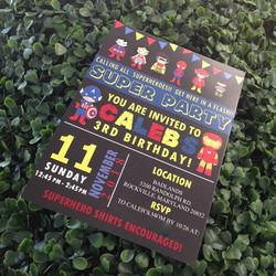 Baby super hero invitations