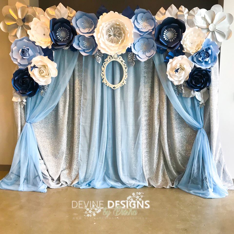 Blue and Silver  flower back drop