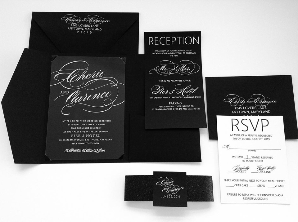 black invitations