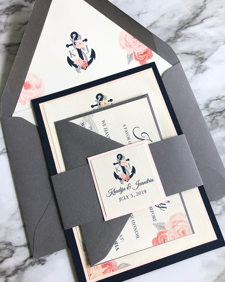 Nautical flat card invitation
