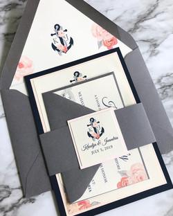 Nautical flat card invitation