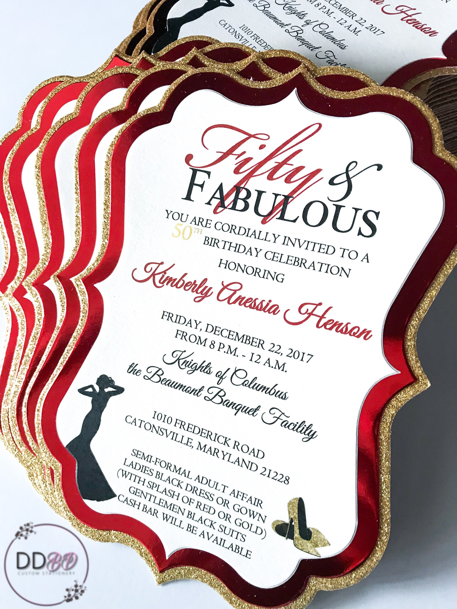 Fifty & Fabulous invitations