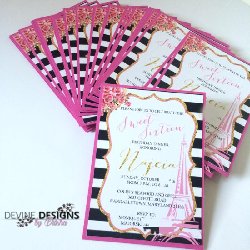 Sweet Sixteen Parisian invitations