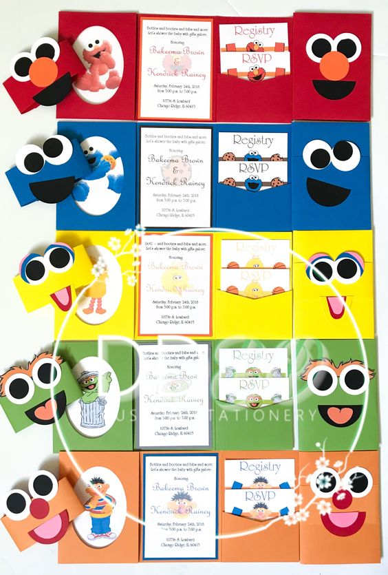 Sesame Street gang invitations