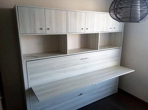 Cama Escritorio abatible 1.5 plazas con mueble superior