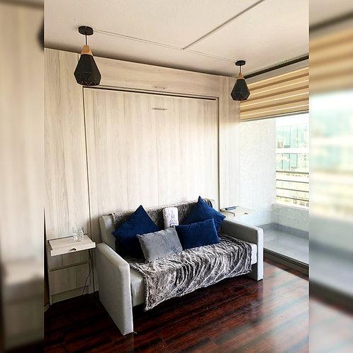Cama vertical 2 plazas con muebles laterales y superior con sillon