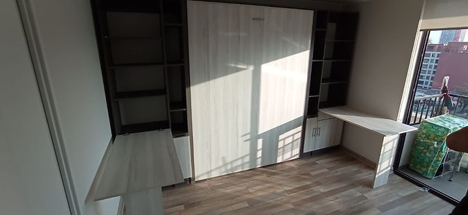 Cama Plegable 2 plazas + muebles laterales full muro