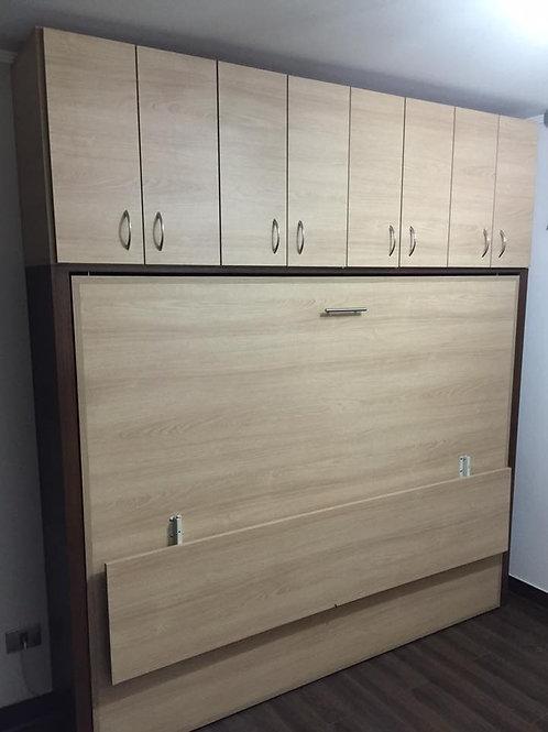 Cama horizontal 2 Plazas con escritorio abatible y mueble superior