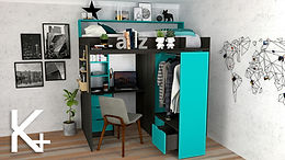 Cama alta escritorio